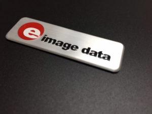 E image data 3d embossed aluminium embleem